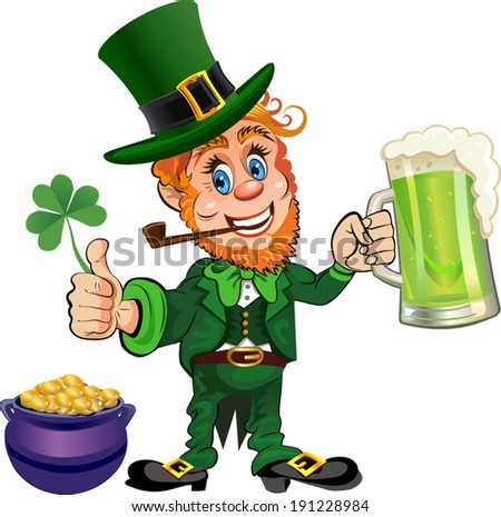 St. Patrick's Day, cheerful Leprechaun with mug of beer. Vector image.