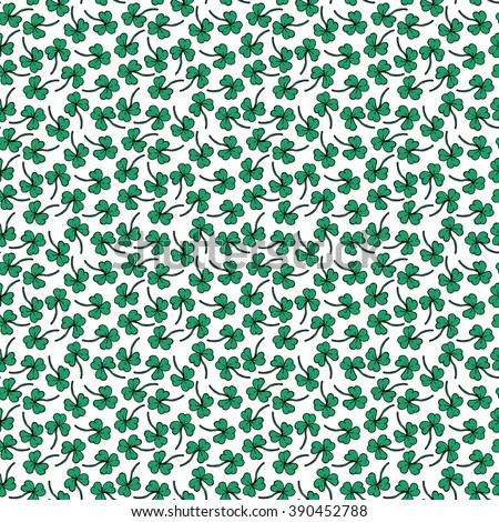St Patrick's Day Clover seamless pattern. Hand drawn vector illustration for lucky spring design with shamrock. Green clover isolated on white background. Irish decor for web site. - stock vector