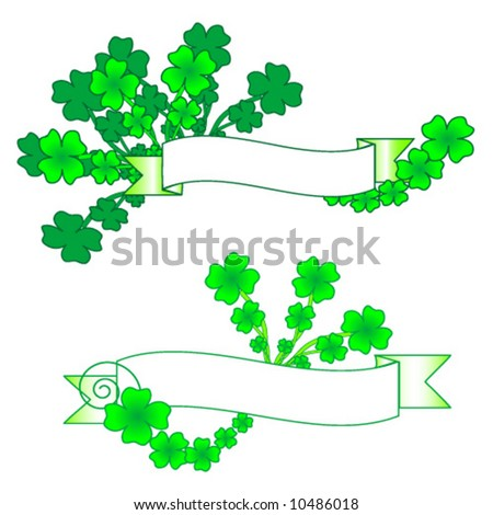 St. Patrick's Day Clover with Banner for Text - stock vector