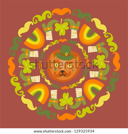 St.Patrick`s day colorful round background with cat - stock vector