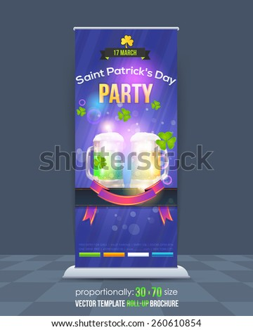 St. Patrick's Day Concept Roll-Up Banner Design, Advertising Vector Template - stock vector