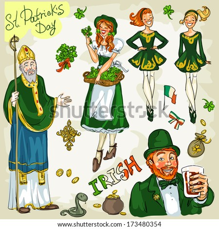 St. Patrick's Day - hand drawn clip art collection - part 2. Doodles, isolated - stock vector
