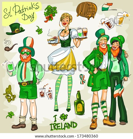 St. Patrick's Day - hand drawn clip art collection - part 3. Doodles, isolated - stock vector
