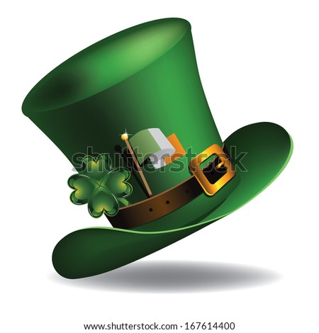 St. Patrick�s Day hat with four leaf clover and Irish flag. EPS 10 vector, grouped for easy editing. No open shapes or paths. - stock vector