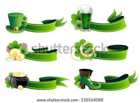 St. Patrick's Day icon set. Holiday symbols with ribbons on a white background - stock vector