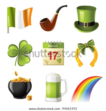 St. Patrick's day icons set - stock vector