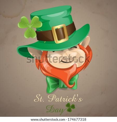 St Patrick's Day Leprechaun Face. Vector Illustration. Eps 10. - stock vector