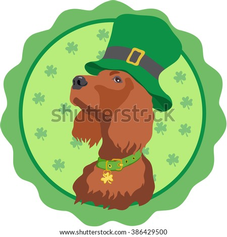 St. Patrick's Day logo design.Irish Setter in a circular emblem on a green background - stock vector