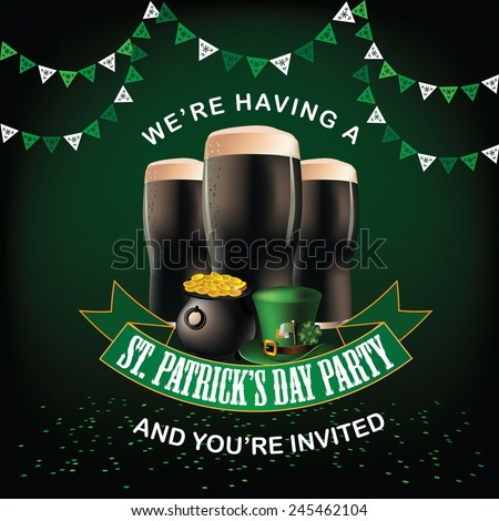St. Patrick's Day party invitation design Royalty free EPS 10 vector stock illustration - stock vector