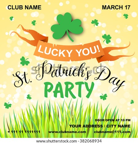 St. Patrick's Day poster. Green clover leaf. Irish spring party banner or poster. Invitation disco party. Typography. Vector illustration - stock vector