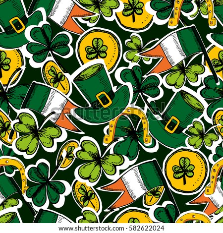 St Patrick's Day  seamless pattern. Hand drawn vector illustration  with shamrock, clover, Irish flag, golden coins, green hat. Ireland symbol pattern. Irish decor for your design.