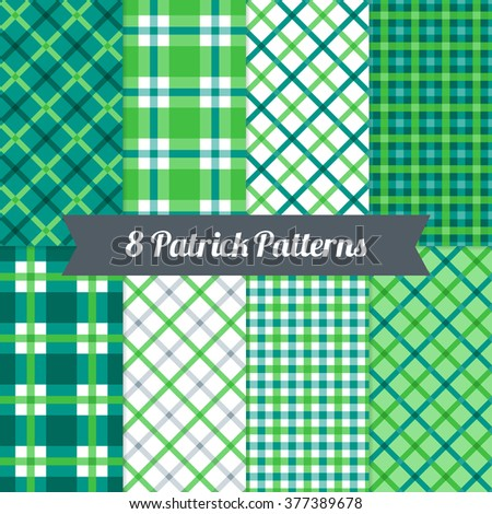 St. Patrick's Day seamless patterns with Plaid and Gingham in Green, Dark Green, Teal and White. Perfect for wallpapers, gift papers, patterns fills, textile, St. Patrick's Day greeting cards - stock vector
