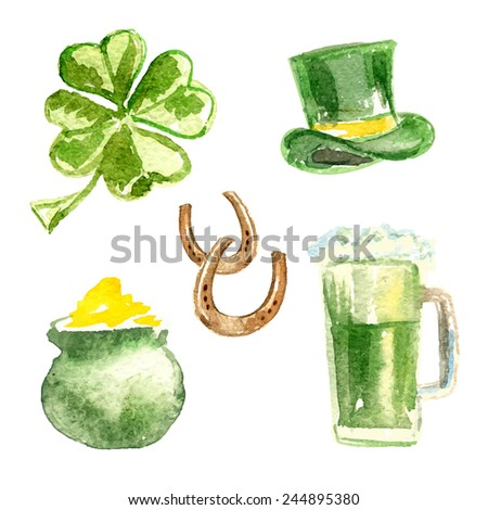 St. Patrick's Day set.  Four-leaf clover, St. Patrick's hat, pot of gold, beer and horseshoes. Watercolor. Vector illustrations. - stock vector