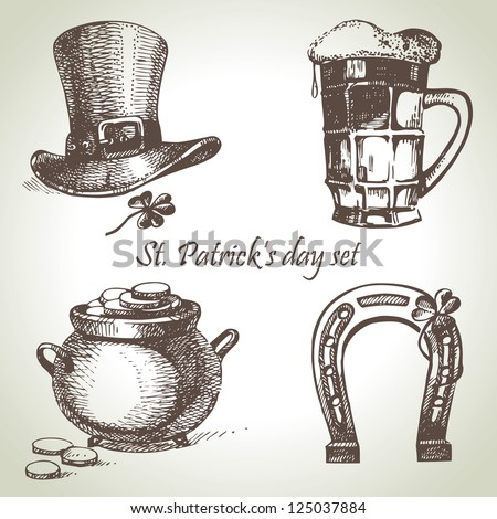 St. Patrick's Day set. Hand drawn illustrations - stock vector