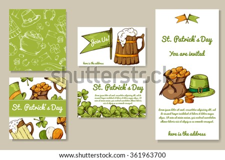 St. Patrick's Day set of cards with hand drawn elements. Vector illustration with sketch objects for your design - stock vector