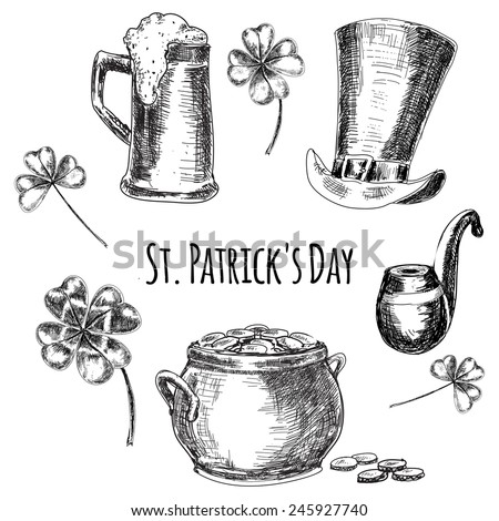 St. Patrick's day. Set of hand drawn graphic illustrations with hat, coins, beer and leaf in sketch style. Vector isolated illustration on white background - stock vector