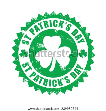St Patrick's day, shamrock, grunge rubber stamp, vector illustration - stock vector