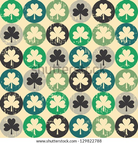 St Patrick's day shamrock seamless pattern - stock vector