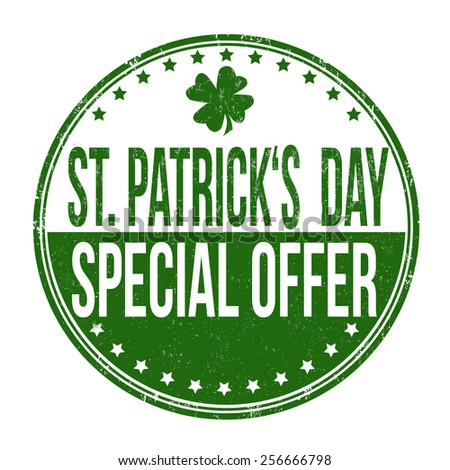St. Patrick's Day special offer grunge rubber stamp on white background, vector illustration - stock vector