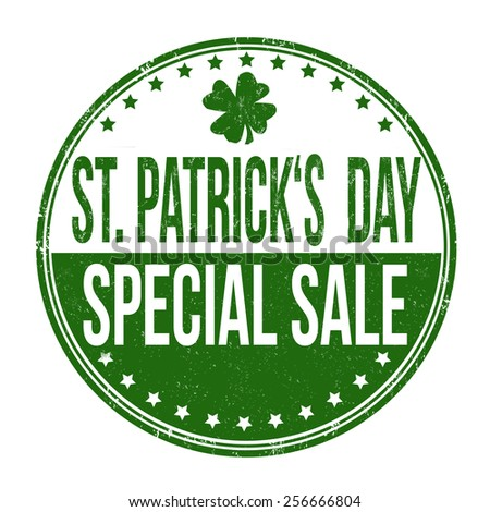 St. Patrick's Day special sale grunge rubber stamp on white background, vector illustration - stock vector