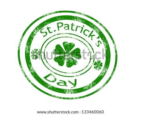 St.Patrick's Day stamp on white background vector illustration - stock vector