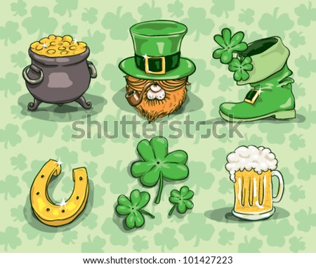 St. Patrick's day symbols - vector set isolated on shamrock background