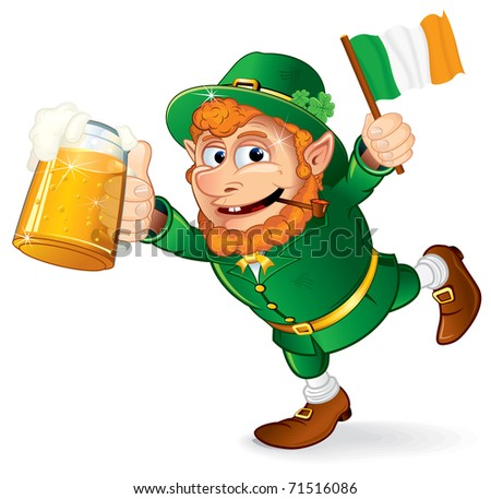 St Patrick's Day traditional celebration symbol - Colorful Cartoon illustration, Happy Smiling Leprechaun holding in hand a mug of lager beer and irish flag.