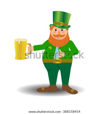 St Patrick's Day traditional celebration symbol - Colorful Cartoon illustration of a Happy Smiling Leprechaun with mug of lager beer - stock vector