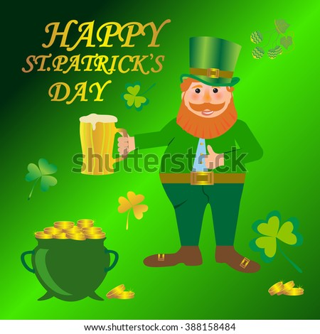 St Patrick's Day traditional celebration symbol - Colorful Cartoon illustration of a Happy Smiling Leprechaun with mug of lager beer. - stock vector
