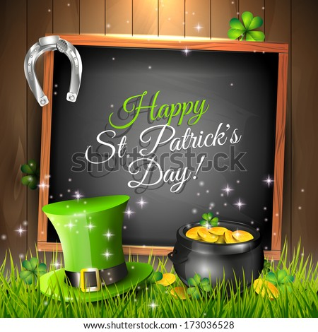 St. Patrick's Day - vector greeting card with green, hat, pot and chalkboard in grass  - stock vector