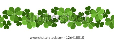 St. Patrick's day vector horizontal seamless background with shamrock. - stock vector