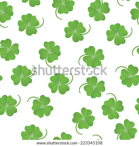 St. Patrick's day vector seamless background with shamrock - stock vector