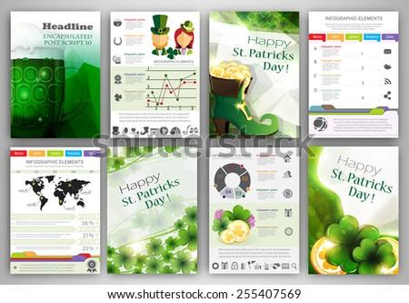 St Patricks Day Vector Set Flyer Vectores En Stock 255407569 ...