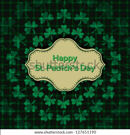 St. Patrick's Day. Vintage background template. Vector illustration EPS10 - stock vector