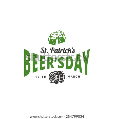 St. Patrick's Day Vintage label typography poster design. Saint Patrick Beer Festival Retro style Lettering vector template. Beer mugs & barrel icons. - stock vector