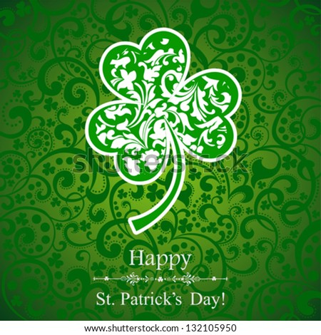 St. Patrick's greeting card. St. Patricks day background with clover. Vector Illustration - stock vector