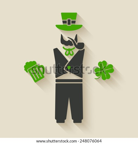 St. Patrick's man with beer and shamrock - vector illustration. eps 10 - stock vector