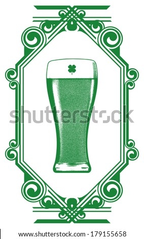 st patrick's shield with glass of beer - stock vector