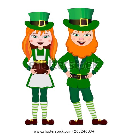 St. Patrick with a red beard and woman in a suit. - stock vector