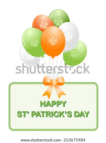 St. Patricks day balloon collection with Happy St. Patricks Day border / frame - stock vector
