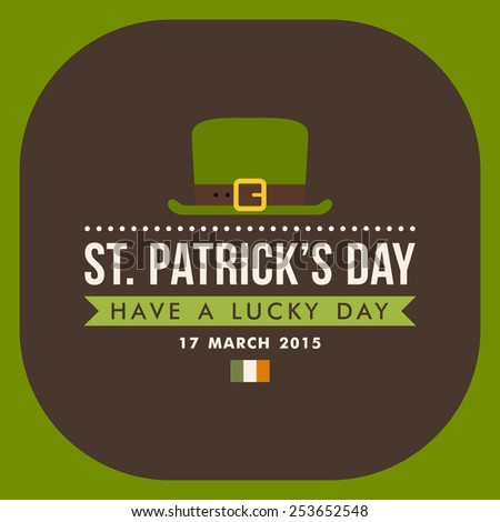 St. Patricks Day card design. Vintage holiday badge design. Have a lucky day - stock vector