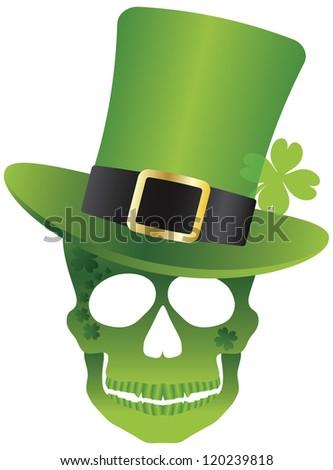 St Patricks Day Green Irish Skull with Leprechaun Hat Illustration Isolated on White Background Vector - stock vector
