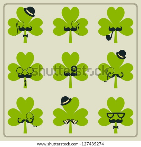 St Patricks day mustached shamrock set - stock vector