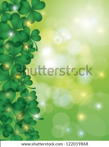St Patricks Day Shamrock Leaves Border with Sparkles and Bokeh Background Illustration Vector - stock vector