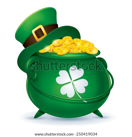 St Patricks Day symbol. Leprechaun hat and pot of gold - stock vector