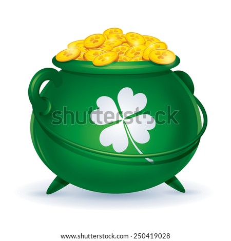 St Patricks Day symbol. Pot of gold - stock vector