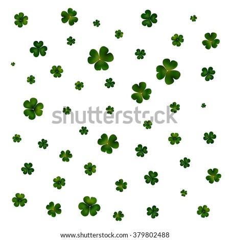 St Patricks day vector background, green clovers on white - stock vector