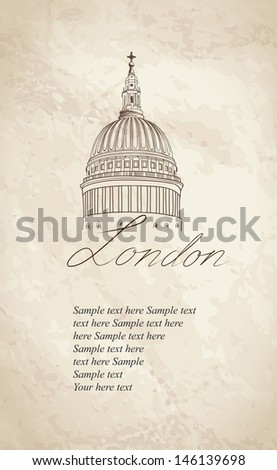 St. Paul Cathedral, London, UK. Hand Drawn Illustration. Vector vintage background. - stock vector