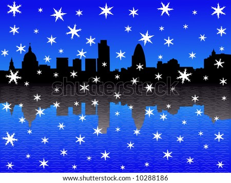 St Paul's cathedral and London skyline in winter - stock vector
