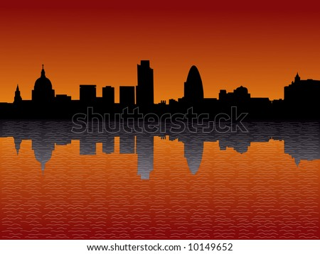 St Paul's cathedral and London skyscrapers at sunset illustration - stock vector